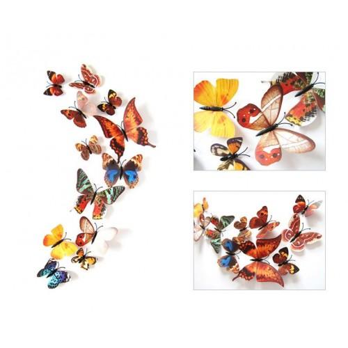 12-Piece 3D Butterfly Wall Sticker